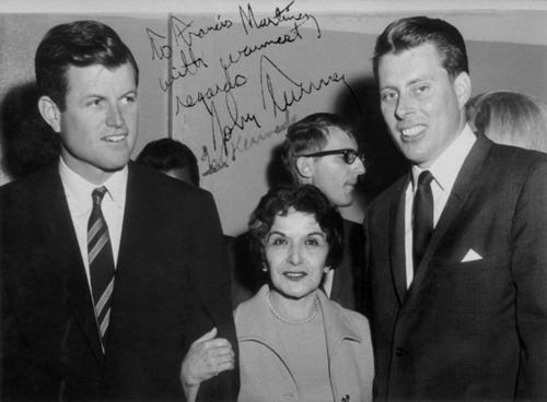 (Left to Right): Ted Kennedy, Frances Martinez, ?, John Tunney. Campaign in Corona National Guard Armory.