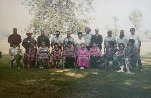 Standing right to left: Johny Macial and his wife. Sitting in front: Marry Macial, Charles Rivera, Christina Rivera , Julion Mendoza, Carmen Mendoza wife, Ismael Jomeli Lupe, Jomeli wife, Maria Macial, Peter Macial, Nieves Salgado, Amado Macial and wife Lucy, Frank Villa c w Elizabeth, Alfonso Rico c w Bandetino, Joseph Varela and wife Vicenta, Paul Macial and wife Jenny Macial.