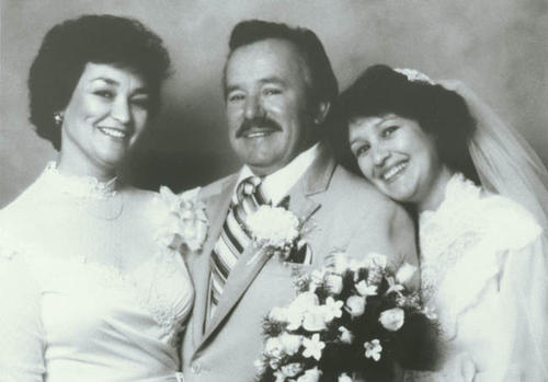 Lorraine Jimenez Ramirez (bride) with parents, Rachel Jimenez and Jess Ramirez.
