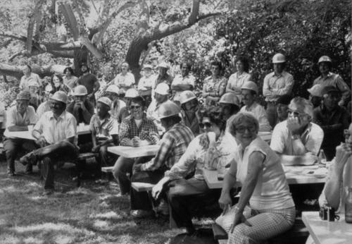 Retirement barbeque party held for Ned Willits in the 1970s.