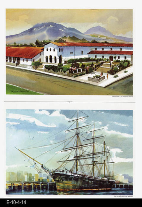 "This is part of a series of water color prints depicting early California history.  Shown on this page are: Mission San Luis Obispo de Tolosa and Star of India Maritime Museum. MEASUREMENTS:  12"" X 16 1/2"", CONDITION:  Very good, COPIES 1."