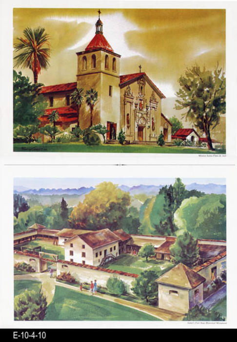 "This is part of a series of water color prints depicting early California history.  Shown on this page are: Mission Santa Clara de Asis and Sutter's Fort State Historical Monument.  MEASUREMENTS:  12"" X 16 1/2"", CONDITION:  Very good, COPIES 1."