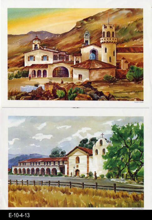 "This is part of a series of water color prints depicting early California history.  Shown on this page are: Scotty's Castle and Mission Santa Ines. MEASUREMENTS:  12"" X 16 1/2"", CONDITION:  Very good, COPIES 1."