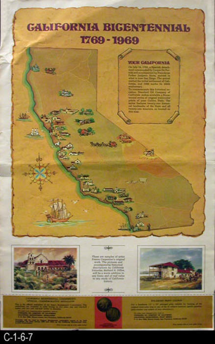 Map Of California Missions Locations.1969 Standard Oil Co California Bicentennial Print Series Map