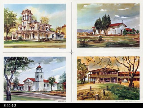 "This is part of a series of watercolor prints depicting early California history.  Shown on the page are: Bidwell Mansion, Mission Nuestra Senora de la Soledad, Mission Santa Druz, Vallego's Petaluma Casa Grande State Historic Monument.  MEASUREMENTS:  12"" X 16 1/2"", CONDITION:  Very good, COPIES: 1."