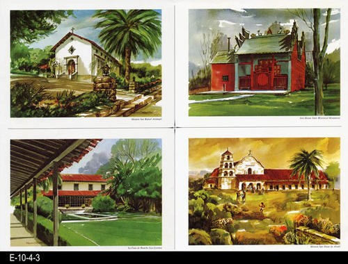 "This is part of a series of watercolor prints depicting early California history.  Shown on this page are:  Mission San Rafael Arcangel, Joss House State Historical Monument, La Casa de Rancho Los Cerritos and Mission San Diego de Alcala.  MEASUREMENTS:  12: X 16 1/2"", CONDITION: Very good, COPIES:  1."