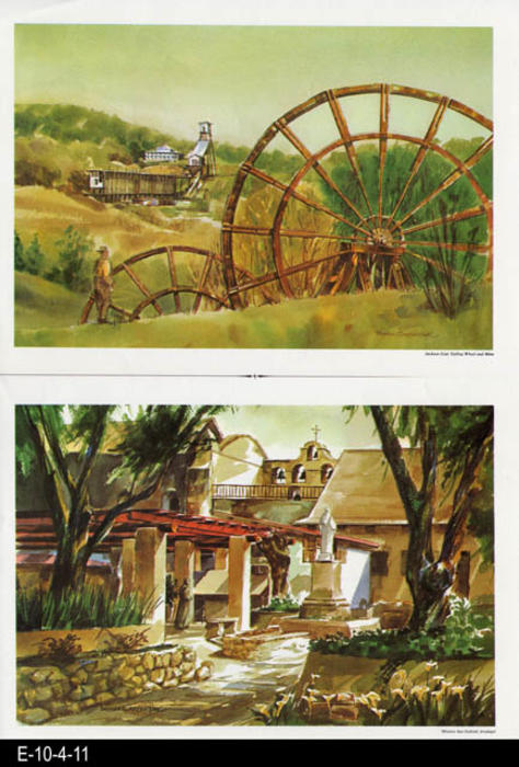 "This is part of a series of water color prints depicting early California history.  Shown on this page are: Jackson Gate Tailing Wheel and Mine and Mission San Gabriel Arcangel.  MEASUREMENTS:  12"" X 16 1/2"", CONDITION:  Very good, COPIES 1."