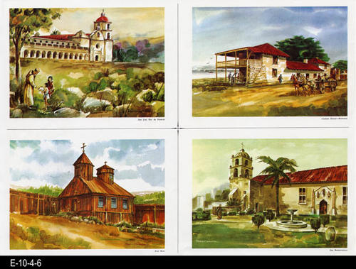 "This is part of a series of water color prints depicting early California history.  Shown on this page are: San Luis Rey de Francia, Custom House--Monterey, Fort Ross, and San Buenaventura.  MEASUREMENTS:  12"" X 16 1/2"", CONDITION:  Very good, COPIES 1."