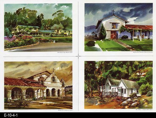 "This is part of a series of watercolor prints depicting early California history.  Shown on this page are:  Will Rogers State Historic Park, Mission San Francisco Solano de Sonoma, Mission San Antonio de Paduo, and The Abbey --Joaquin Miller Home.  MEASUREMENTS:  12"" X 16 1/2"", CONDITION:  Very good, COPIES:  1."