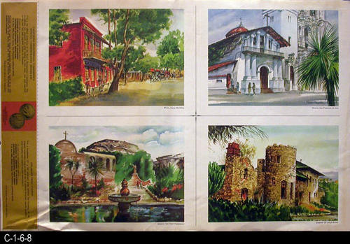 "This document features four watercolor prints of the following locations:  Well Fargo Building 1858, Mission San Francisco de Asis, Mission San Juan Capistrano, Lummis' El Alisal Home. Historical information written by Richard Dillon about each site is on the back.  MEASUREMENTS:  18 1/2"" X 12"" - CONDITION:  The lower left  hand corner is slightly wrinkled.  - COPIES 2."
