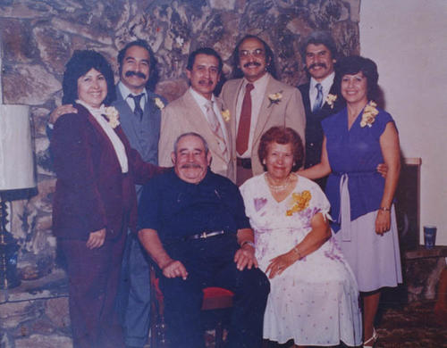 50th Anniversary of Jospeh and Vicenta Varela (seated), 1982. Standing L-R: Esther Munoz, Ray Varela, Joseph Varela, Paul Varela, and Gloria Varela-Herrera.