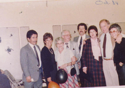 Halloween dance at St. Edward's Church, October 31, 1984. L-R: Richard and Rachel Hernandez, m/m Luis Hull, Lee Jerde, Mary and Gary Miller, and Marilyn Jerde.