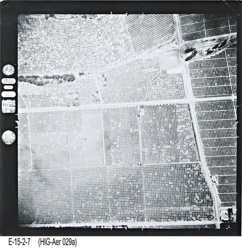 "This is an aerial view of Corona showing Main St. South of Ontario Avenue to Chase Drive. - MEASUREMENTS:  10 1/4"" x 10 1/4"" - CONDITION:  This photo is in good condition. This photograph is in a protective sleeve. - COPIES:  1. - NEGATIVE INFORMATION:  # ON022"