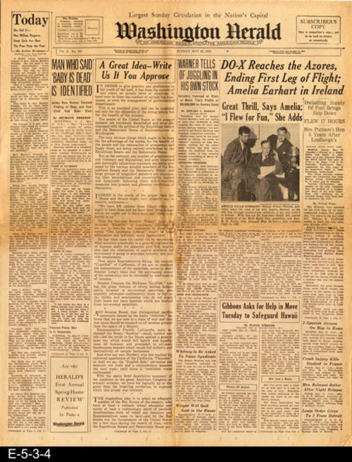 "Amelia Earhart's landing is part of a front page article.  There is also a front page article pertaining to the death of Charles Lindbergh's baby.  PAGES: 12 (not consecutive), MEASUREMENTS:  21 1/4"" X 17"", CONDITION:  The newsprint is beginning to brown.  The paper is brittle.  There is a 7"" tear starting from the right hand edge of the paper on the horizontal fold line. There is a small tear area in the center of the paper that goes through all 12 pages.  All text and pictures are very legible where there is not damage.  COPIES: 1"