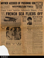 1929 - Washington Times - Mother Accused of Poisoning Son, French Sea Fliers...