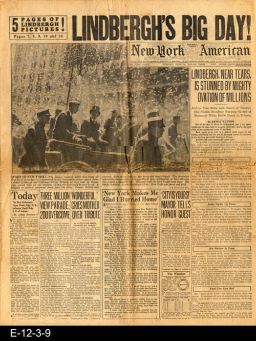 "The headline story is about the parade for Lindbergh following his return from France.  There are five pages of Lindbergh pictures.  This newspaper also has other international, national and local news and advertising.  PAGES: 16, MEASUREMENTS:  21 1/2"" X 17 1/4"", CONDITION:  The paper is becoming brittle and turing brown.  The fold lines and margin area show wear and tear.  COPIES: 1"