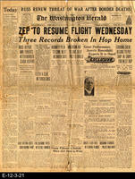 1929 - Zep To Resume Flight Wednesday