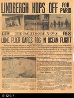 1927 - The Baltimore News - Lindbergh Hops Off For Paris