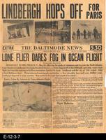 1927 - The Baltimore News - Lindbergh Hops Off For Paris