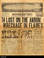 1933 - Washington Times - 74 Lost On The Akron; Wreckage In Flames