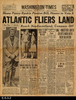 1930, Front Page Article:  Amelia Sets Unofficial Air Mark