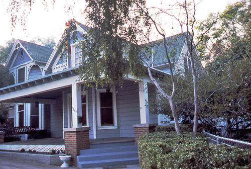 This color slide is a photograph of the Corona residence located at 1108 S. Victoria Avenue.  It was taken during April 1985.  - SLIDE CONDITION:  Good.
