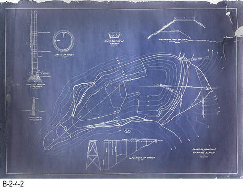 "This is an extra blueprint according to information penciled in on the back.  The date Sept. 1916 appears.  This plan is identical to B-2-4-3, but without a Building Bond attachment.  This print is in much better condition that B-2-4-3.  MEASUREMENTS:  25 1/4"" X 34 1/4"" - CONDITION:  This blueprint is in a Mylar sleeve3.  The top and bottom edges are damaged.  A 2 1/2"" x 4"" piece has been torn from the top corner but is present.  No blueprint plans in this area.  There is staining near the left edge area.  COPIES:  1."