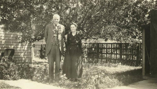 R.B. Taylor and wife Emma in the backyard of their Los Angeles residence.