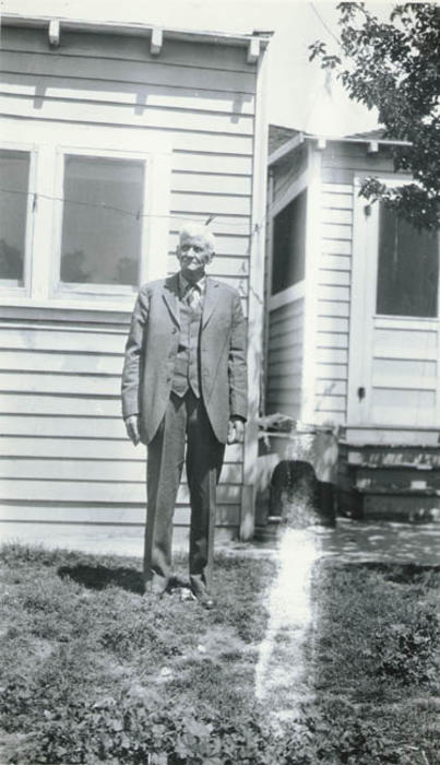R.B. Taylor in backyard. Taylor was one of the Corona city founders.
