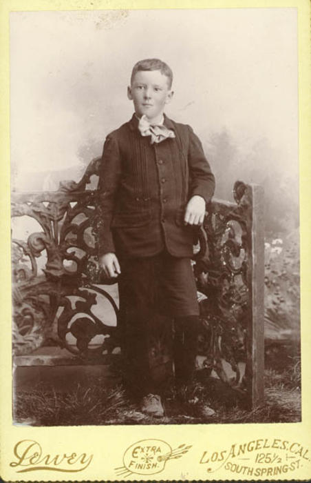 Portrait of Henry Garfield Taylor, age 9. Son of R.B. Taylor, founder of Corona. Photo taken at 125 1/2 S. Spring Street in Downtown Los Angeles.