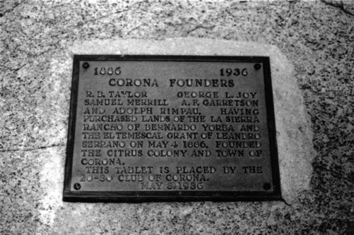 Photo of the Corona Founders' plaque at City Park on East 6th Street. The marker was dedicated in 1936 during Corona's Golden Jubilee. The marker was placed at City Park by the 20-30 Club of Corona.