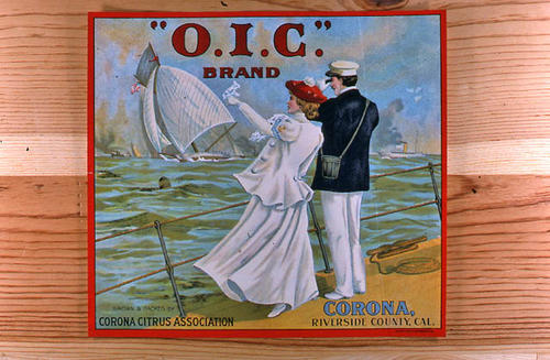 "This slide is of the ""O.I.C."" brand.  This product was grown and packed by the Corona Citrus Association., - Corona, Riverside Co., California.  - SLIDE CONDITION:  Good."