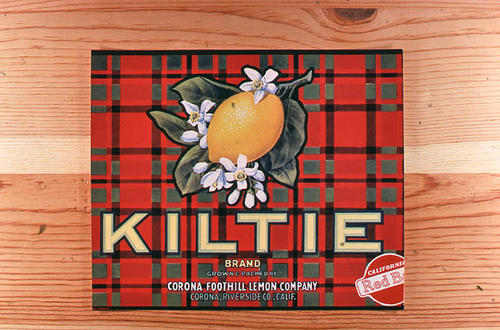 "This slide is of the ""Kiltie"" brand.  This Red Ball lemon product was grown and packed by the Corona Foothill Lemon Company - Corona, Riverside County, California. - SLIDE CONDITION:  Good."