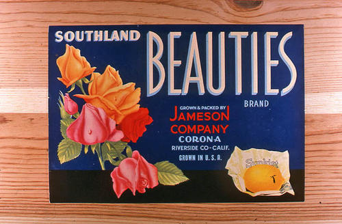 "This slide is of the ""Southland Beauties"" brand.  This Sunkist lemon product was grown and packed by Jameson Company.  - Corona, California. - SLIDE CONDITION:  Good."