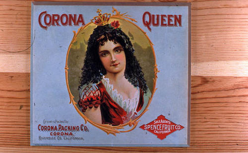 "This slide is of the ""Corona Queen"" brand.  This product is grown and packed by Corona Packing Co. - Corona, Riverside Co., California. Sales Agents for Spence Fruit, California - SLIDE CONDITION:  Good."