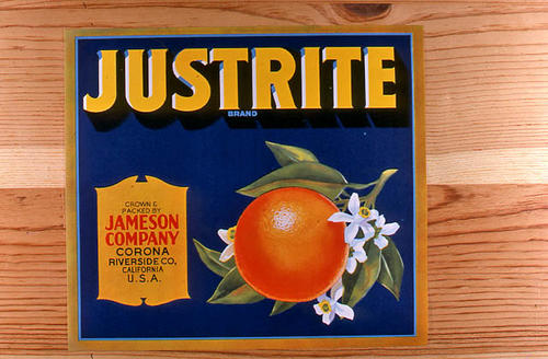 "This slide is of the ""Justrite"" brand.  This product is grown and packed by Jameson Company - Corona, Riverside Co., California. - SLIDE CONDITION:  Good."