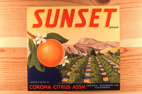 "This slide is of the ""Sunset"" brand citrus label.  This product is from the Corona Citrus Association.  - Corona, California.  - SLIDE CONDITION:  Good."