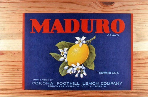 "This slide is of the ""Maduro"" brand.  This lemon product was from the Corona Foothill Lemon Company - Corona, Riverside County, California. - SLIDE CONDITION:  Good."