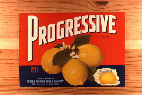 "This slide is of the ""Progressive"" brand citrus label.  This Sunkist lemon product is from the Corona Foothill Lemon Company - Corona, California - SLIDE CONDITION:  Good."