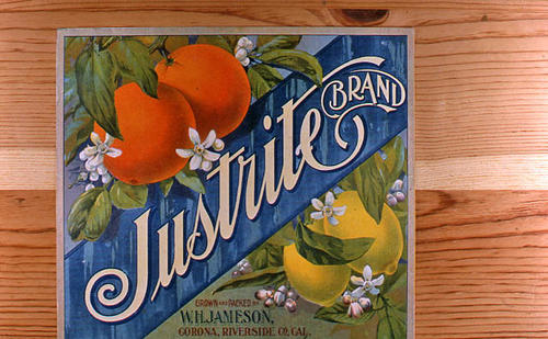 "This slide is of the ""Justrite"" brand.  This product is grown and packed by W. H. Jameson - Corona, Riverside Co., California. - SLIDE CONDITION:  Good."