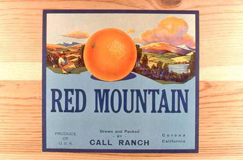"This slide is of the ""Red Mountains"" brand citrus label. Packed and grown by Call Ranch - Corona, California.  SLIDE CONDITION:  Good."