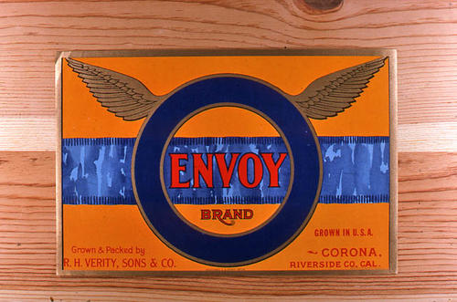 "This slide is of the ""Envoy"" brand.  This product was grown and packed by R. H. Verity, Sons and Company. - Corona, Riverside Co., California.  - SLIDE CONDITION:  Good."