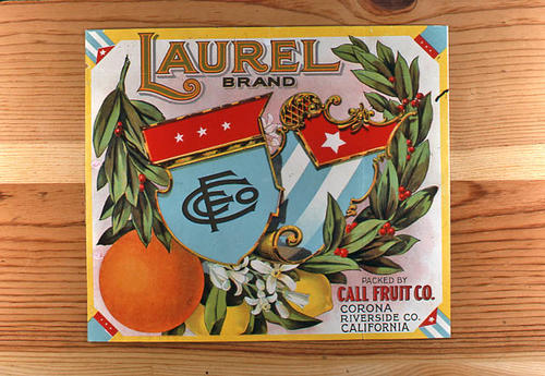 "This slide is of the ""Laurel"" brand.  This orange product was packed by the Call Fruit Co. - Corona, Riverside County, California. - SLIDE CONDITION:  Good."