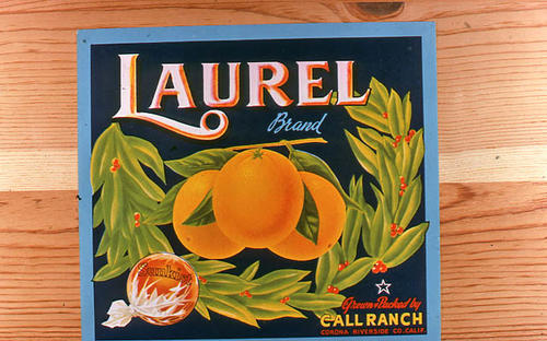 "This slide is of the ""Laurel"" brand.  This Sunkist orange product was grown and packed by the Call Ranch - Corona, Riverside County, California. - SLIDE CONDITION:  Good."