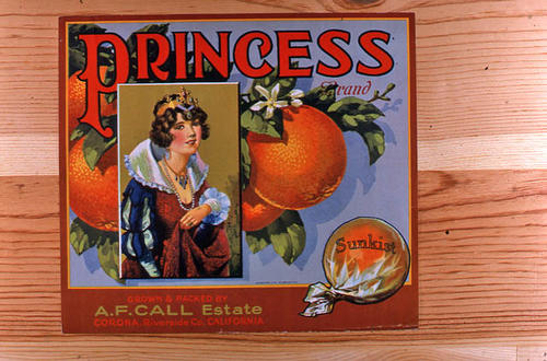 "This slide is of the ""Princess"" brand.  This Sunkist orange product was grown and packed by the A. F. Call Estate - Corona, Riverside County, California. - SLIDE CONDITION:  Good."