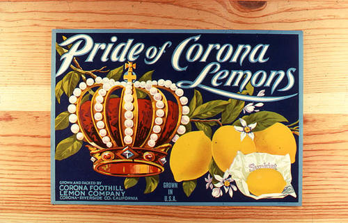 "This slide is of the ""Pride of Corona Lemons"" brand citrus label. Corona Foothill Lemon Co. - Corona - Riverside, California. SLIDE CONDITION:  Good."
