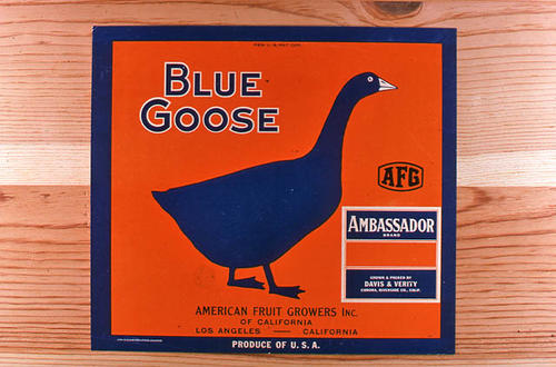 "This slide is of the ""Ambassador"" brand Blue Goose citrus label.  This product is grown and packed by Davis and Verity - Corona, Riverside County, California, for American Fruit Growers, Inc., Los Angeles, California. - SLIDE CONDITION:  Good."