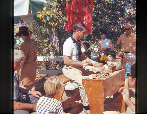 This slide is of pottery maker Valyermo taken 09/29/1968.  He is outdoors working at the pottery wheel.   SLIDE CONDITION:  Good.