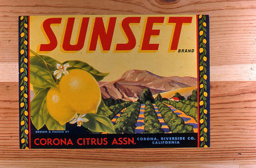 "This slide is of the ""Sunset."" brand.  This lemon product was grown and packed by the Corona Citrus Association, - Corona, Riverside Co., California.  - SLIDE CONDITION:  Good."