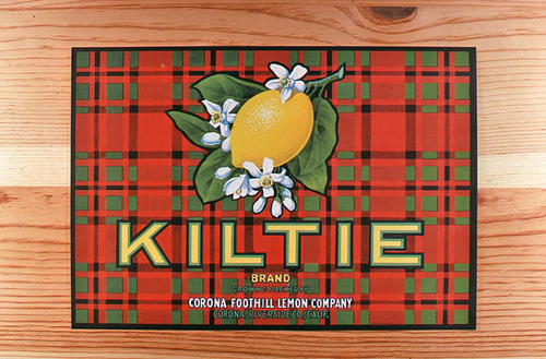 "This slide is of the ""Kiltie"" brand.  This product was grown and packed by the Corona Foothill Lemon Company - Corona, Riverside Co.,  California. - SLIDE CONDITION:  Good."
